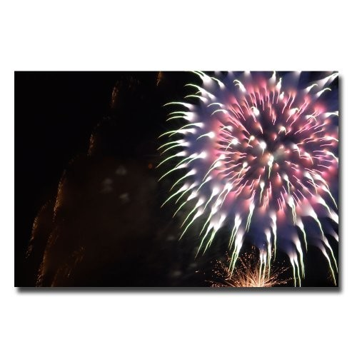 Abstract Fireworks V by Kurt Shaffer, 16x24-Inch Canvas Wall Art [16 by 24-Inch]
