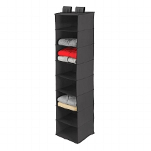 Honey Can Do 8 Shelf Hanging Organizer, Polyester Black