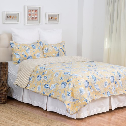 C & F Home Yellow Taupe Shells King Quilt Set