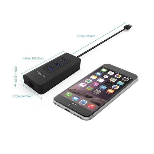 dodocool 3-Port USB 3.0 Hub with RJ45 Gigabit Ethernet Adapter Free Driver Support 10 / 100 / 1000 Mbps Ethernet Adapter