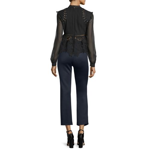 SELF PORTRAIT Floral-Lace Long-Sleeve Top, Black