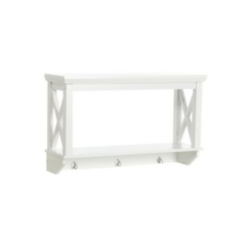 RiverRidge Home Products X- Frame Collection Wall Shelf with Hooks - White (06-005)