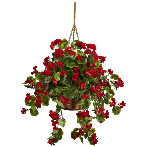 Nearly Natural Geranium Hanging Basket UV Resistant (Indoor/Outdoor) Silk Plant
