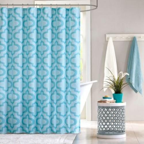 Intelligent Design Pilar Shower Curtain in Aqua