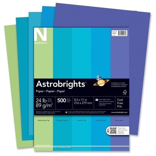 Neenah Astrobrights Colored Paper, 24lb, 8-1/2 x 11, Cool Assortment, 500 Sheets/Ream - WAU20274