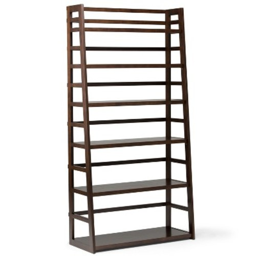 Simpli Home Acadian Tobacco Brown Ladder Bookcase