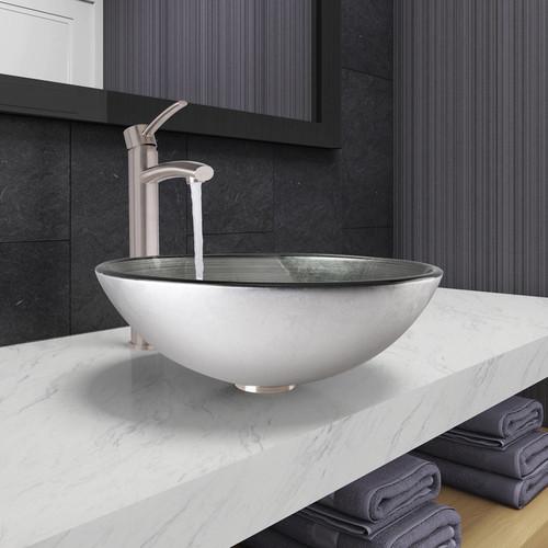 Vigo Vessel Sink in Simply Silver and Milo Faucet Set in Brushed Nickel