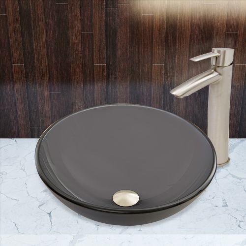 VIGO Glass Vessel Sink in Sheer Black Frost and Shadow Faucet Set in Brushed Nickel