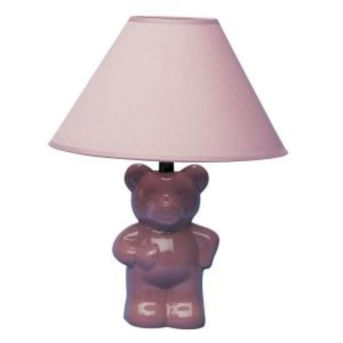 ORE International 13 in. Ceramic Teddy Bear Pink Lamp