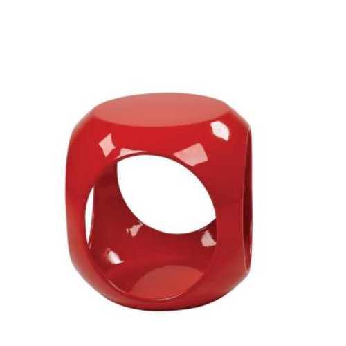 Ave Six Slick Cube Red End Table