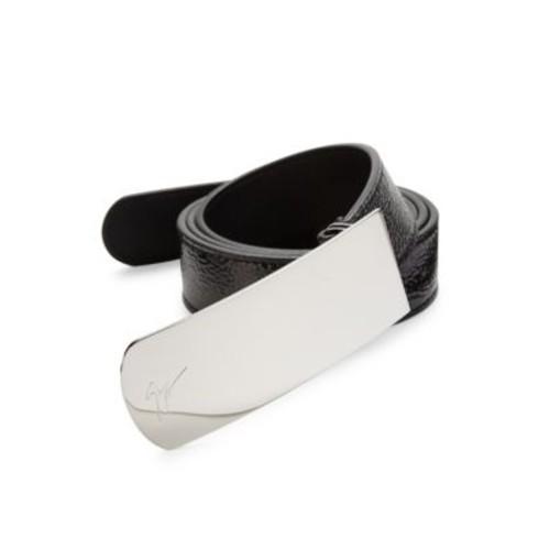 GIUSEPPE ZANOTTI Crinkled Patent Leather Belt