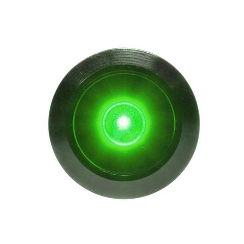 PrimoChill Black Aluminum Latching Vandal Switch - 16mm - Dot Illumination- Green LED