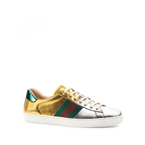GUCCI Ace Metallic Snakeskin Lace Up Sneakers