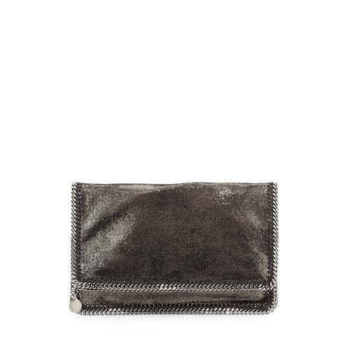 STELLA MCCARTNEY Falabella Fold-Over Evening Clutch Bag, Gray