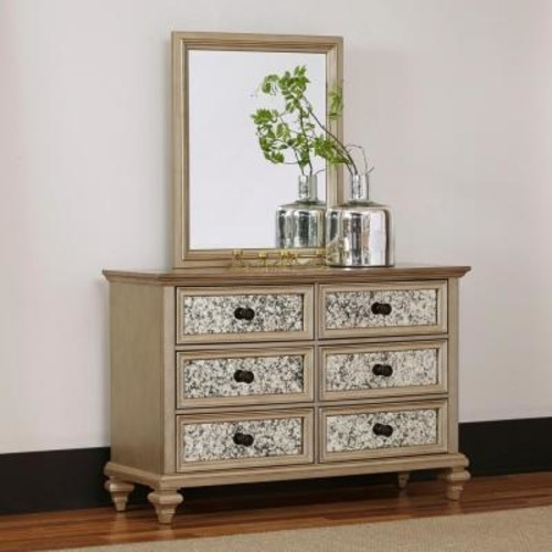 Home Styles Visions 6-Drawer Silver Gold Champagne Finish Dresser with Mirror