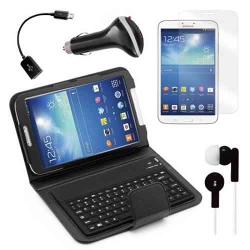Keyboard Folio with Earphones, Screen Protector, OTG Cable, and More for Samsung Galaxy Tab 3 8