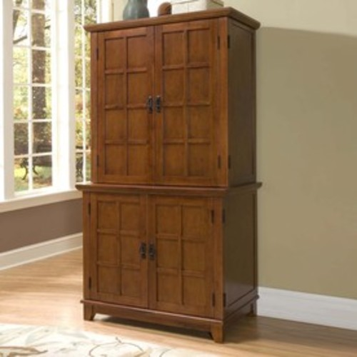 Home Styles Arts & Crafts Pedestal Desk w/ Hutch in Cottage Oak [Computer - With Hutch]