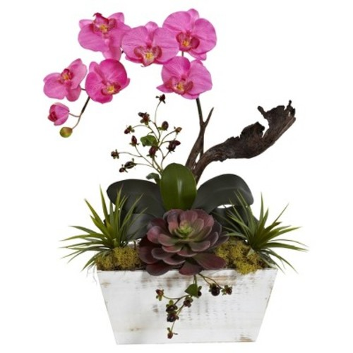 Orchid & Succulent Garden with White Wash Planter Pink - Nearly Natural