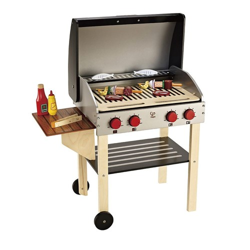 Hape Gourmet BBQ Grill and Shish Kabob Wooden Kitchen Play Food Set with Accessories