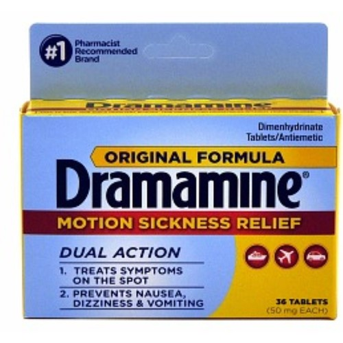 Dramamine Motion Sickness Relief Original Formula, 36 Tablets, Packaging May Vary [36 Count(Pack of 1), Original Formula]
