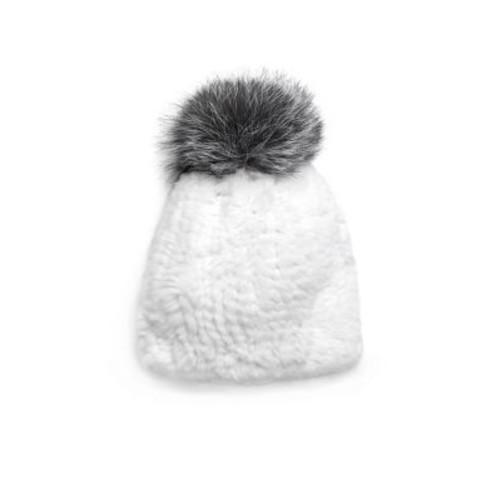 Surell - Bobble Knitted Rabbit Fur Beanie
