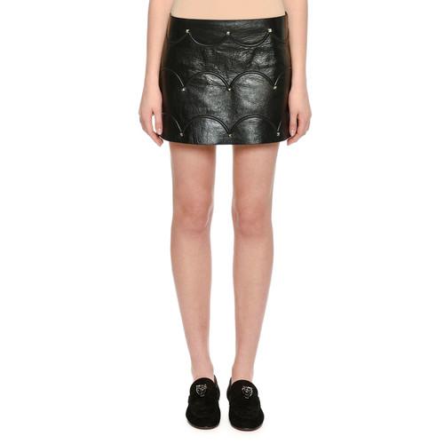 VALENTINO Scallop Studded Leather Mini Skirt, Black
