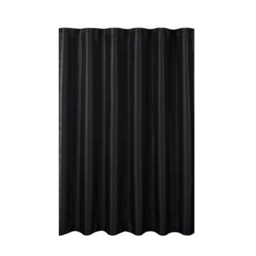 Creative Home Ideas Jane Faux Silk 70 in. W x 72 in. L Shower Curtain with Metal Roller Hooks in Black