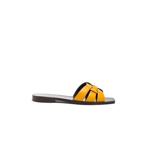 Saint Laurent Leather Nu Pieds Slides in Saffron Yellow