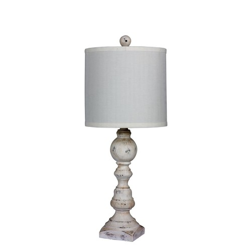 Fangio Lighting 26 in. Distressed Balustrade Resin Table Lamp in a Cottage Antique White
