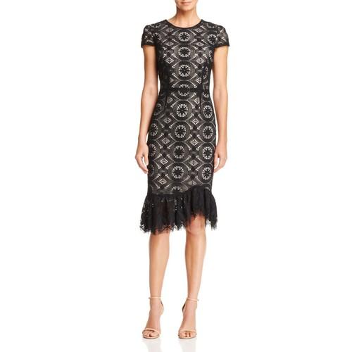 Ruffle-Hem Lace Dress