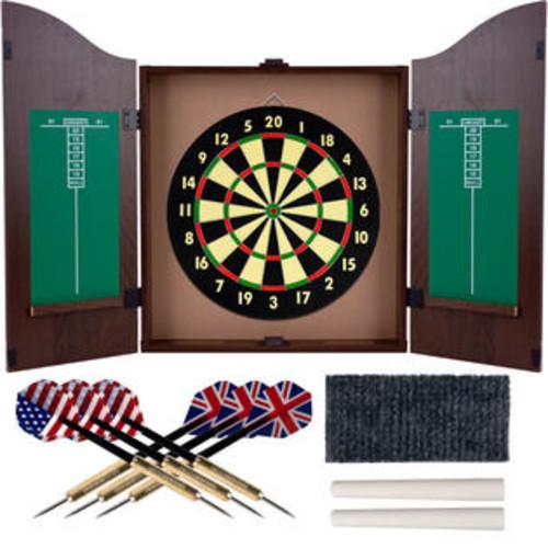 Agritura Tg Dartboard Cabinet Set - Realistic Walnut Finish