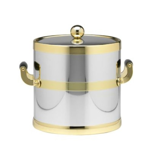 Kraftware Americano 3 Qt. Polished Chrome & Brass Ice Bucket with Brass Lid, Wood Side Handles
