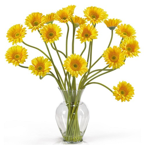 Nearly Natural 21 in. Gerber Daisy Liquid Illusion Silk Flower Arrangement in Yellow