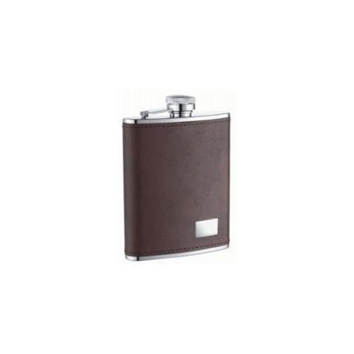 Visol Products Genuine Leather Stainless Steel Liquor Flask