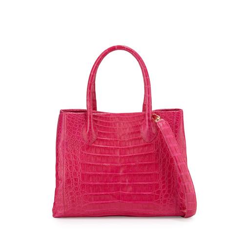 NANCY GONZALEZ Crocodile Medium Convertible Tote Bag, Pink/Multi