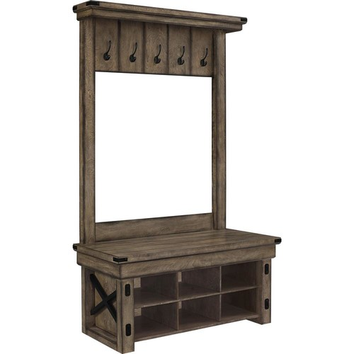 Ameriwood Forest Grove Rustic Gray Wood Veneer Entryway Hall Tree with Storage Bench