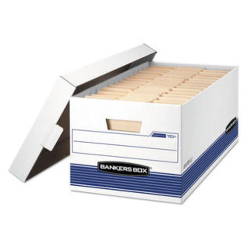 Fellowes Mfg Co. 0070104 Stor/file Storage Box, Letter, Locking Lid, White/blue, 4/carton