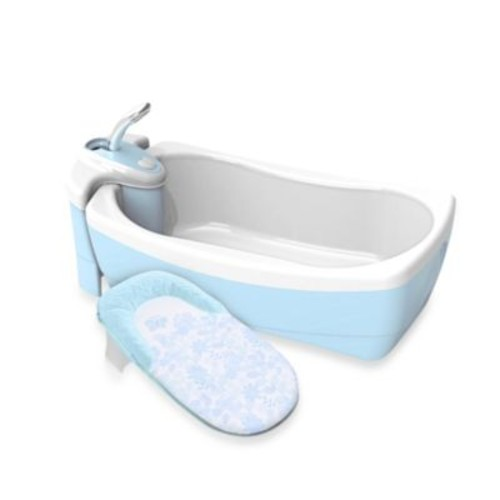 Summer Infant Lil' Luxuries Whirlpool BubBling Spa & Shower Bath Tub in Light Blue