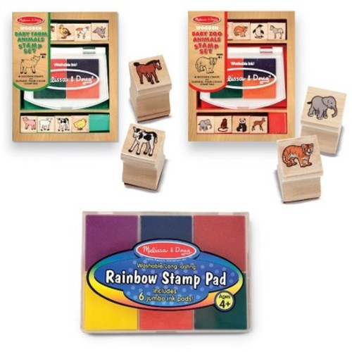 Melissa & Doug Wooden Stamps Sets: Baby Zoo Animals and Baby Farm Animals [Baby Zoo & Farm Animals W / 6 Color Stamp Pad Set]