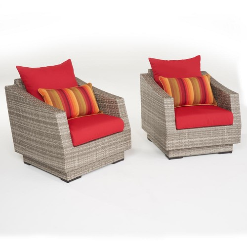 RST Brands Cannes 2-Piece All-Weather Wicker Patio Club Chair Seating Set with Sunsent Red Cushions
