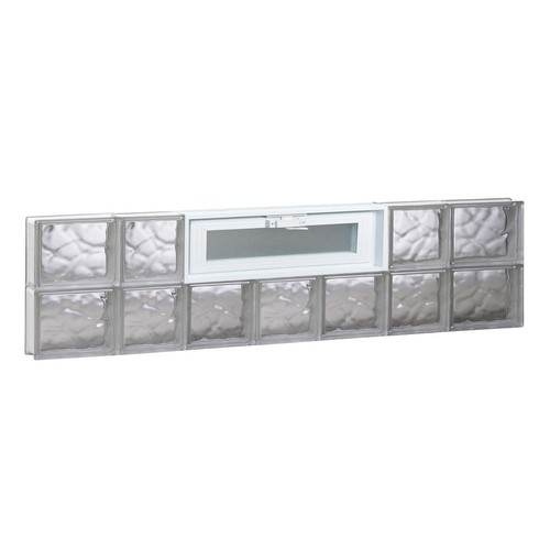 Clearly Secure 44.25 in. x 11.5 in. x 3.125 in. Frameless Wave Pattern Vented Glass Block Window
