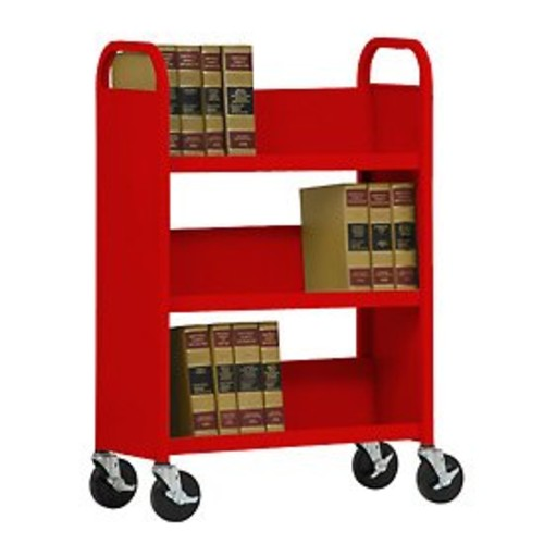 Sandusky Lee SL330-01 Single Sided Sloped Shelf Book Truck, 14