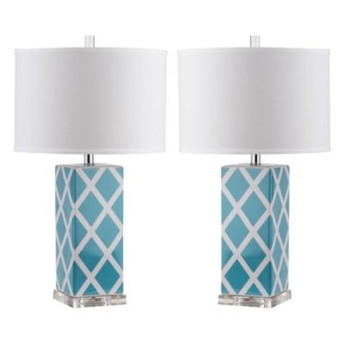 Safavieh Lighting 27-inch Light Blue Garden Lattice Table Lamp (Set of 2)