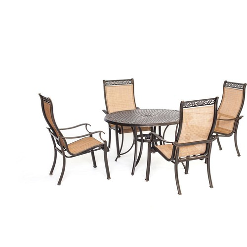 Agio Somerset 5-Piece Aluminum Round Outdoor Dining Set with Cast-Top Table