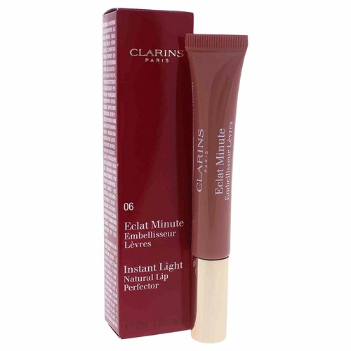 Clarins Eclat Minute Instant Light Natural Lip Perfector, No. 06 Rosewood Shimmer, 0.35 Ounce