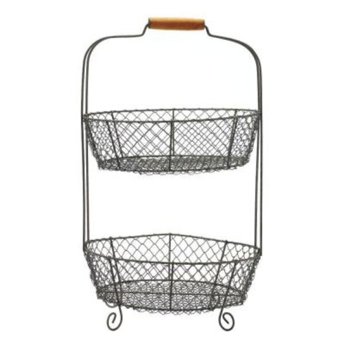 Home Decorators Collection 21 in. 2-Tier Wire Basket