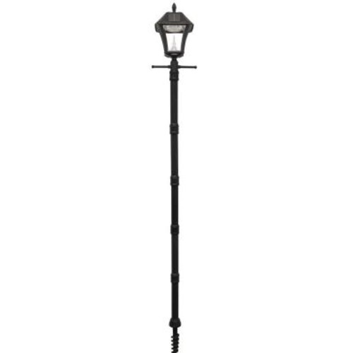 Gama Sonic Baytown II Black Resin Solar Warm-White Outdoor Integrated LED Post Light and Lamp Post with EZ-Anchor Base