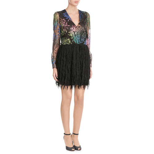 Dress with Embroidered Mesh Top