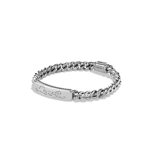 Petite Pav Curb Link Love ID Bracelet with Diamonds