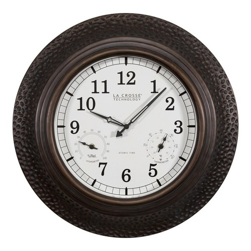 La Crosse Technology 404-3556A 22 Inch Round Polyresin Atomic Analog Wall Clock with Temperature and Humidity